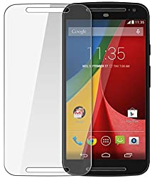 Motorola Moto G (2nd Gen) Compatible Tempered Glass Screen Protector (Antishock, Curved Edged) (Pack of 2, Only Front Transparent Screen Protector) (Combo Offer, get a VJOY 5200 mAh Power-Bank RED (1 Year Replacement Guarantee, Lithium Polymer Battery, Long Battery-Life) worth Rupee 1599/- absolutely free with Screen Protector)