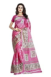 Viva N Diva Women's Clothing Designer Party Wear Low Price Sale Offer Pink Color Art Silk Printed Free Size Saree Sari
