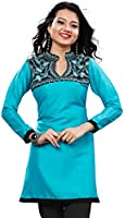 Silk Indian Tunics Kurti Top Long Blouse Womens Embroidered India Clothing