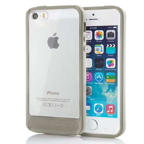 Iphone 5S Case, Motomo [Beige] [Achrome] Iphone 5S Bumper Case [Transparent Hybrid] [Shockproof] Scratch Resistant Clear Back Cover Case - Verizon, At&T, Sprint, T-Mobile, International, And Unlocked - Case For Iphone 5 / Iphone 5S - Retail Packaging - Cr