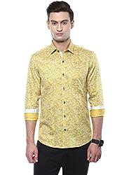 GIVO Yellow Floral Print Casual Shirt
