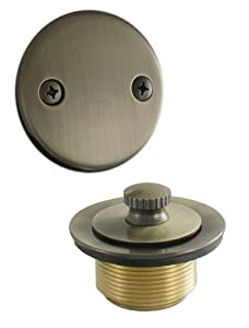 LDR 552 5101AB Waste and Overflow Kit with Lift and Turn Drain and Double Hole Plate, Antique Brass