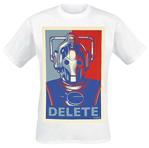 Doctor Who Cyberman DELETE T-Shirt bianco M