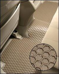Hexomat custom all weather floor mats for 2002-06 Chevrolet Pickup Fullsize crew cab H.D. 60/40 Bench 1 Piece Rear Floor Mat Black