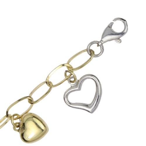 Imagen de 14k Dos Tonos Bonded oro y plata de la pulsera del encanto del corazón