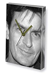 CHARLIE SHEEN - Canvas Clock (LARGE A3 - Signed by the Artist) #js003