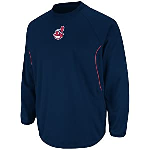 MLB Cleveland Indians Therma Base Tech Fleece, Navy Red by Majestic