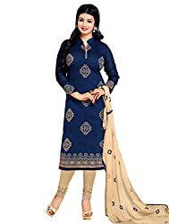 Adorn Mania Blue Chanderi Embroidered salwar Suits Dress Material