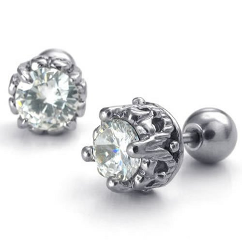 Konov Jewelry Mens Womens Stainless Steel Cubic Zirconia Stud Earrings, 7Mm, White Silver
