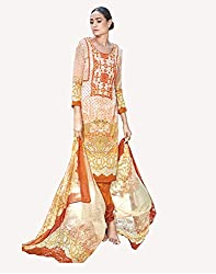 Orange Printed With Embroidery Cotton Silk Salwar Suit
