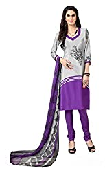 Lovely Look Purple & White Printed Dress Material