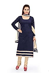 Navy Blue Velvat Embroidered Unstitched Dress Material