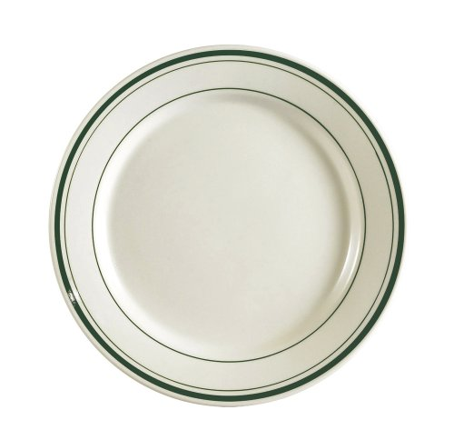 CAC China GS-21 12-Inch Greenbrier Green Band Stoneware Round Plate, American White, Box of 12