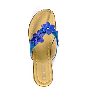 Blue Beauty Women's Blue Synthetic Casual Slippers