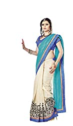 Nistula Floral Print Border Work Bhagalpuri Saree With Blue Unstitched Blouse Material [Sky Blue & Off White] | Lavanya 25010