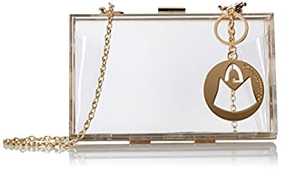 MG Collection Vive Designer Inspired Clear Hardcase Box Style Evening Purse
