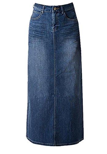 Skirt BL Womens Blue Stretch Back Split Long Pencil A Line Maxi Jean Denim Skirt, blue, (tag M/US Size 2-4) (Long Split Maxi Skirt compare prices)