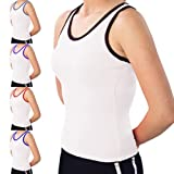 Pizzazz Womens White Navy Racerback Tank Top Medium