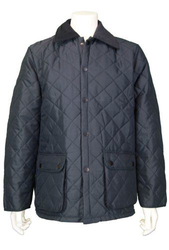 New Mens Diamond Quilted Hunter Style Jacket, Style Hexham, In Navy, Size Large