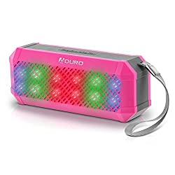 Aduro Amplify Sound Glow Wireless Portable Speaker w/ LED Light Show & Built-in FM Radio & Hands Free Calling w/ Built-in Microphone (Pink/Grey)