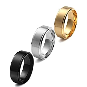 Jstyle Stainless Steel 8mm Men Rings Wedding Engagement Simple Band Matte Finish 3 Pcs a Set Size 12