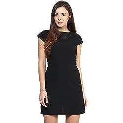 RARE Black Cap Sleeves Polyester dress for women