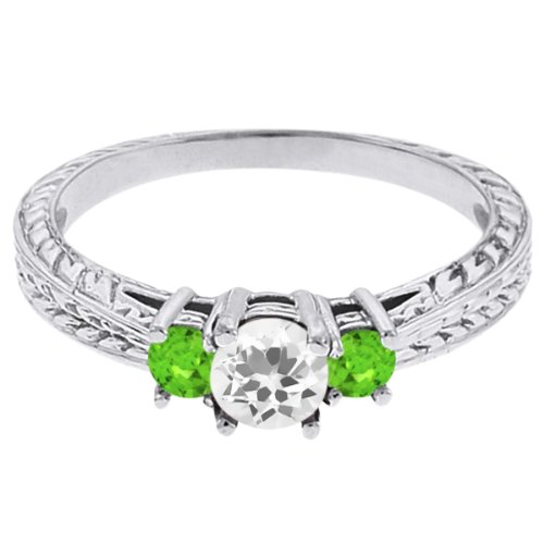0.59 Ct Round White Topaz Green Sapphire 14K White Gold 3-Stone Ring