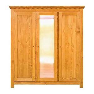 kleiderschrank mit spiegel echtholz 200x180x60 massiv holz kiefer alt wei shabby chic. Black Bedroom Furniture Sets. Home Design Ideas