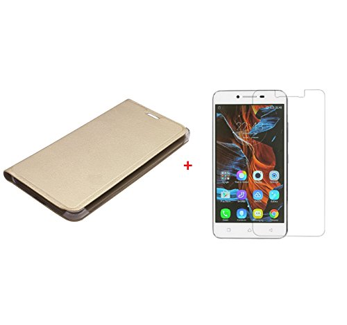 YuniKase COMBK5L3 (COMBO OFFER) for Lenovo vibe K5 Leather Flip cover + Premium Tempered Glass screen Protector (Gold)