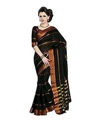 Aadarshini Women's Cotton Saree (4028, Black)