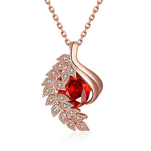[Classic Romantic Plant Shape Red Zircon Necklace] (Mechanic Costume Diy)