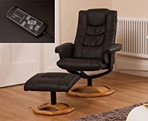 Luxury Leather Swivel Massage Recliner / Nursing Chair & Stool - Brown