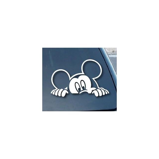 Mickey Mouse Peeking Style #2   5 WHITE Vinyl Decal Window Sticker for Laptop, Ipad, Window, Wall, Car, Truck, Motorcycle