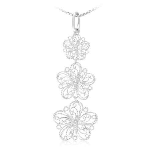 Sterling Silver Flower Pendant Necklace, 18