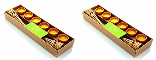6 Citronella Garden Candle Bamboo Torch with 18 Ceramic Pots