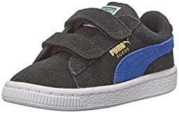 PUMA Suede 2 straps Sneaker (Infant/Toddler/Little Kid) , Black/Limoges/Team Gold, 7 M US Toddler