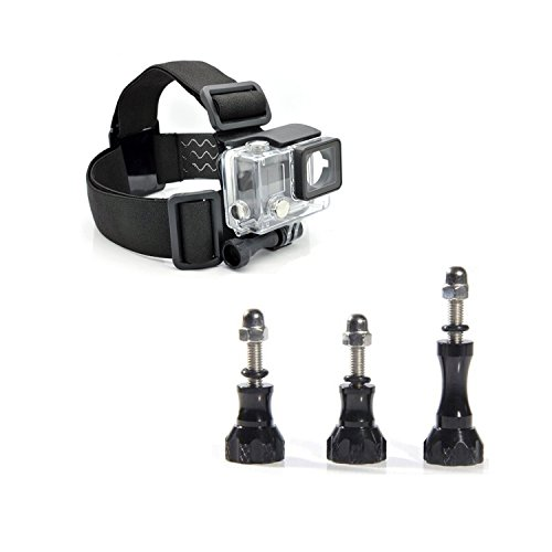 Masione™ Head Strap/Belt Harness Mount+Aluminum Thumbscrew/Thumb Screw Knob Mount (1 Long 2 Short) For Gopro Hd Hero3+ Hero3 Hero2 1 Cameras Adjustable