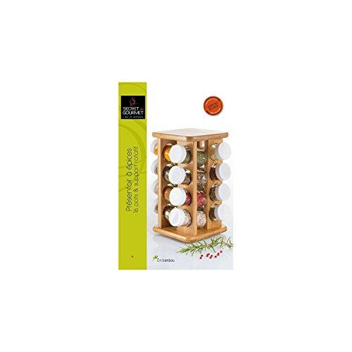 Présentoir à épices et herbes aromatiques en BAMBOU - 16 pots en verre + le support rotatif