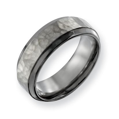 Titanium 8mm Hammered and Polished Band Ring - Size 13 - JewelryWeb