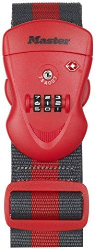 Master Lock 4702EURDRED Cinghia per Bagagli TSA, Combinazione Programmabile a 3 Cifre, Rosso/Grigio, 2 m