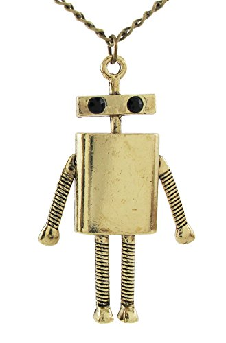 Daisyjewel Steampunk Retro Patina Articulated Robot Pendant Necklace
