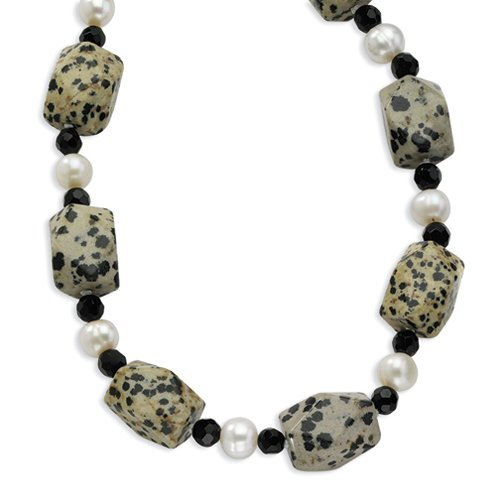 Sterling Silver FW Cultured Pearl/Dalmatian Jasper/Blk Crystal Necklace