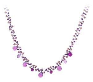 Oi! - N2779 - Collier Femme - Rhodium plaqué  - Perle/Améthyste  - Perle d'eau douce