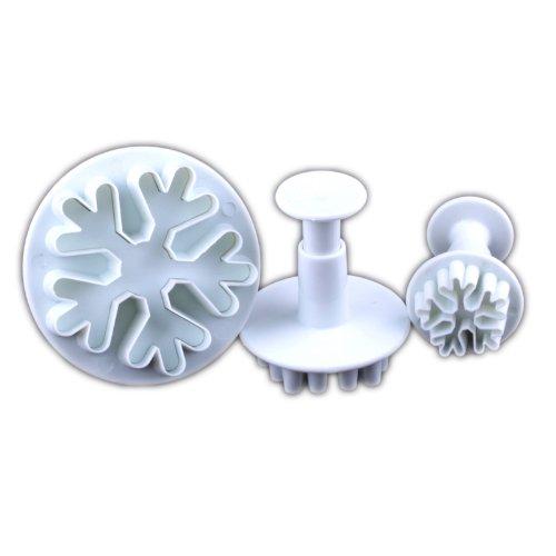 WHATWEARS 3x Big Snowflake Fondant Cake Biscuit Sugarcraft Plunger Cutter Craft Mold Tool