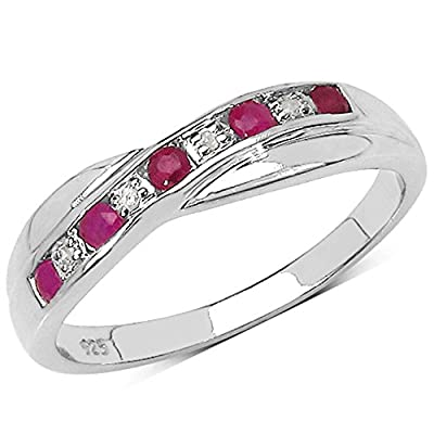 The Ruby Ring Collection: Ruby & Diamond Channel Set Crossover Eternity Ring in Sterling Silver