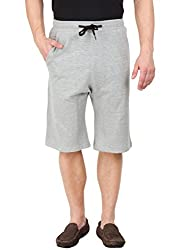 Hypernation Grey Color Casual Three Fourth For Men