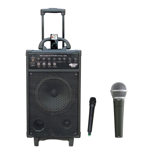 Pyle Speaker And Mic Package - Pwma860I 500W Vhf Wireless Portable Pa System /Echo W/Ipod Dock - Pdmic58 Professional Moving Coil Dynamic Handheld Microphone