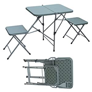 Palm Springs Outdoor Portable 2 Person Picnic Camping Table & Chair Set (Green)