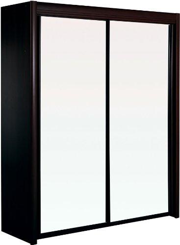 Parisot Carla 2 puertas armario con puertas de espejo negro