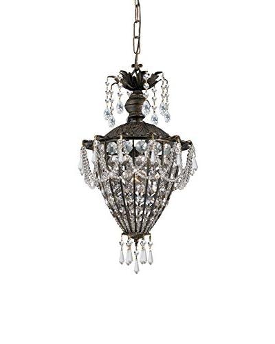 Gold Coast Lighting Vanderbilt 1-Light Clear Crystal Pendant, English Bronze